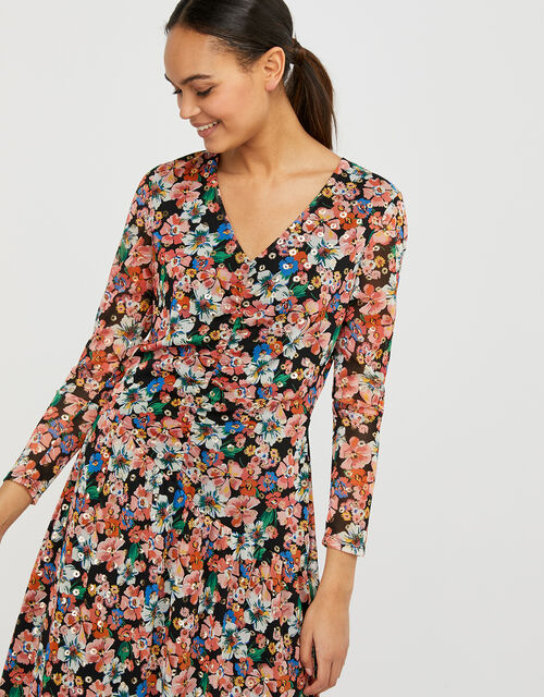 Flore Floral Mesh Asymmetric Hem Dress, Multi (MULTI), large