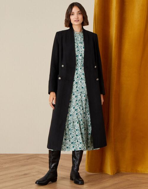 Joey Long Coat in Wool Blend, Black (BLACK), large