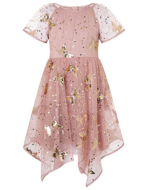 Sequin Butterfly Hanky Hem Dress , Pink (PINK), large