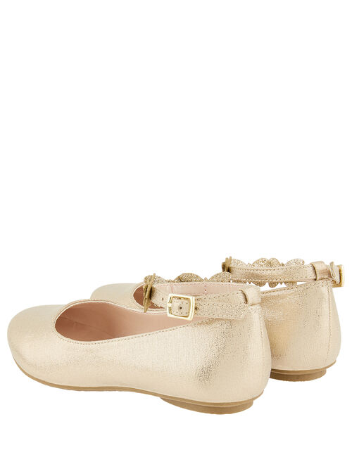 Butterfly Strap Shimmer Ballerina Shoes, Gold (GOLD), large