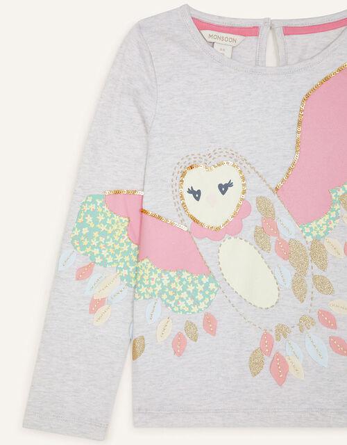 Owl 3D Applique Top, Grey (GREY), large