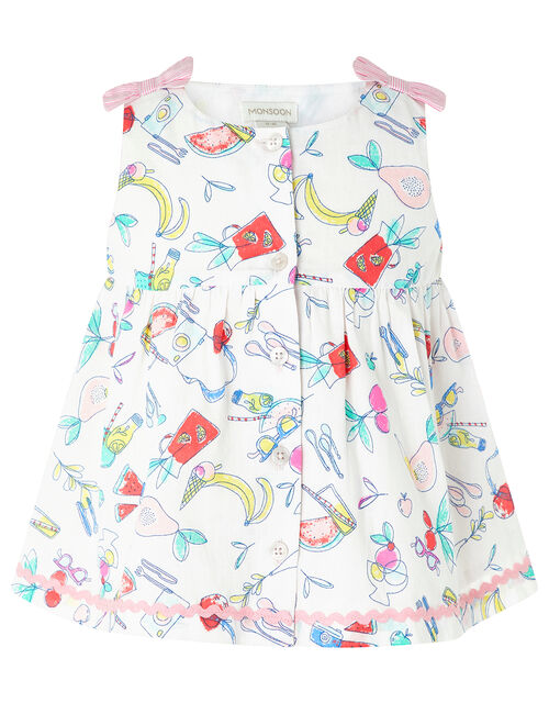 Baby Fleur Tunic and Shorts Set in Pure Cotton, Ivory (IVORY), large