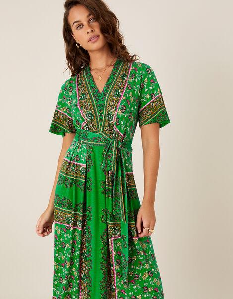 Raegan Heritage Print Midi Dress Green, Green (GREEN), large