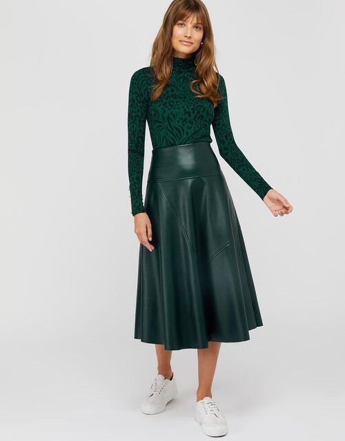 Carly Faux Leather Midi Skirt , Dark Green, large