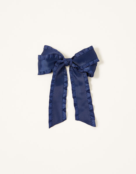 School Ruffle Bow Hair Clip, , large