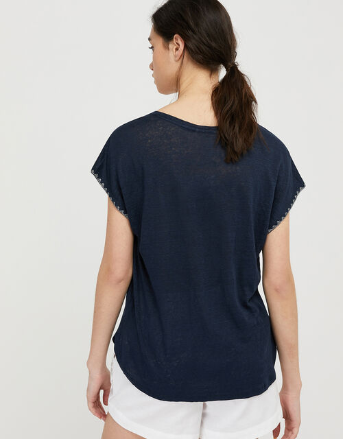 Liza Metallic Stitching T-shirt in Pure Linen, Blue (NAVY), large