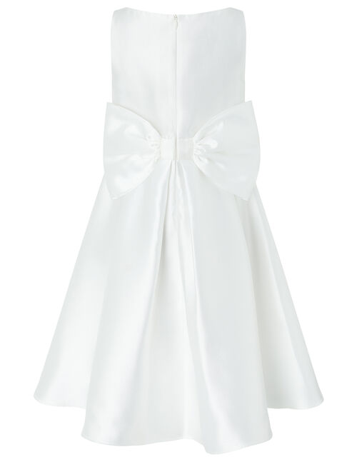Betty Twill Bow Occasion Dress, Ivory (IVORY), large