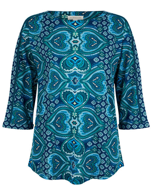 Himanshi Heart Jersey Top with Organic Cotton, Blue (BLUE), large