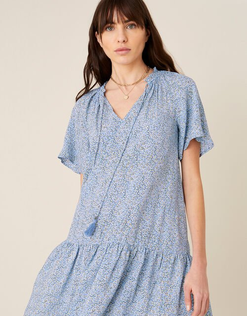 Ditsy Floral Dress in Sustainable Viscose, Blue (BLUE), large