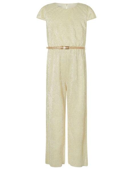 Shimmer Wide Leg Jumpsuit with Belt Gold, Gold (GOLD), large
