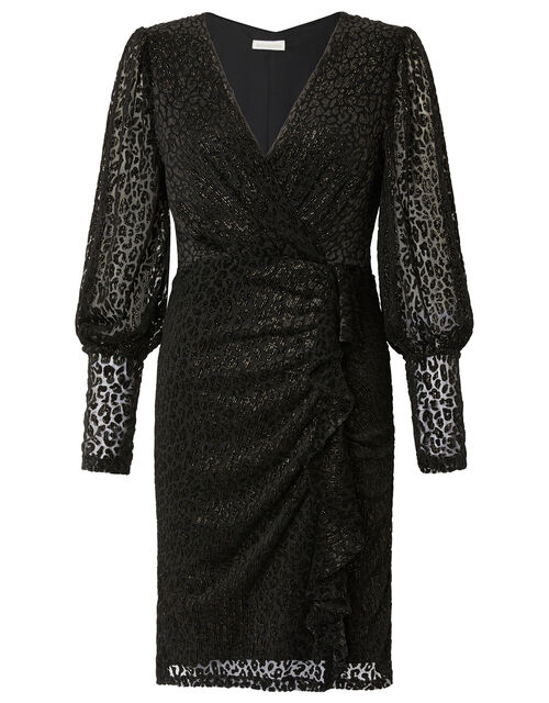 Abigail Shimmer Animal Devore Dress, Black (BLACK), large