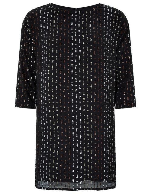 Yara Sequin Dolman Sleeve Tunic Dress, Black (BLACK), large