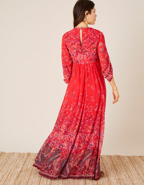 Jasmine Printed Maxi Dress, Red (RED), large