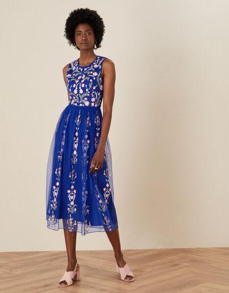 Cassia Floral Mesh Dress Blue, Blue (COBALT), large