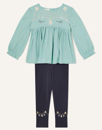 Baby Owl Woven Top and Leggings Set Blue, Blue (AQUA), large