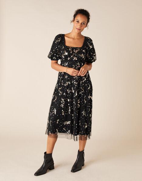 Selena Star Sequin Midi Dress Black, Black (BLACK), large