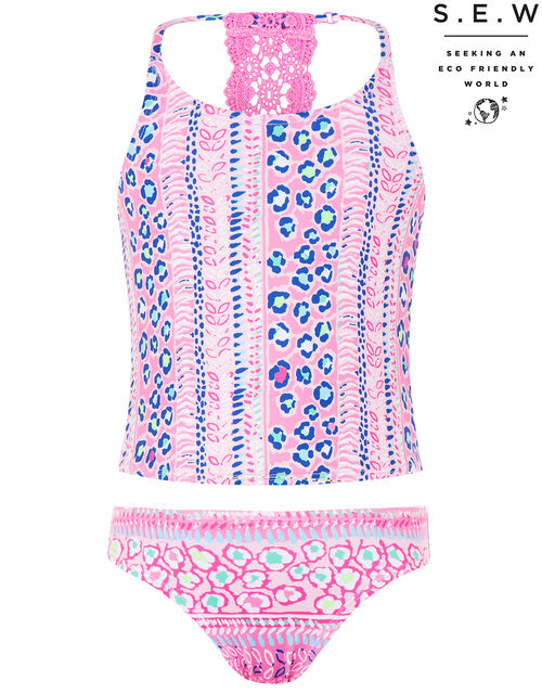 Ava Printed Tankini with Recycled Polyester, Pink (PINK), large