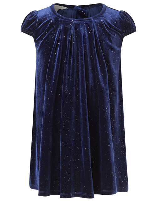 Baby Sparkle Velvet Dress with Recycled Fabric, Blue (NAVY), large