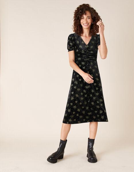 Ebony Glitter Print Stretch Velvet Dress Black, Black (BLACK), large