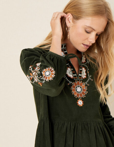 Audrey Embellished Cord Dress Green, Green (GREEN), large