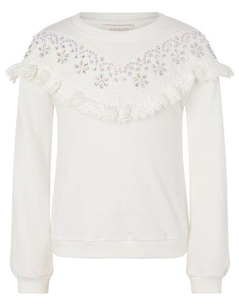 Lace and Gem Sweatshirt Ivory, Ivory (IVORY), large
