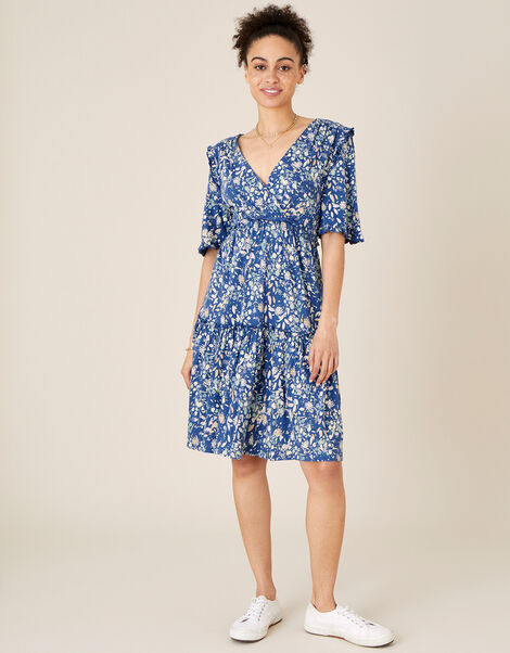 Floral Tiered Jersey Dress Blue, Blue (BLUE), large