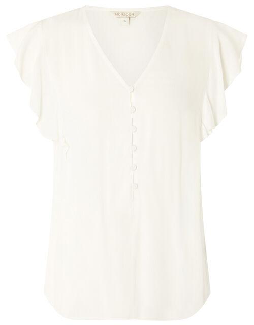 Ruffle Short Sleeve Blouse, Ivory (IVORY), large
