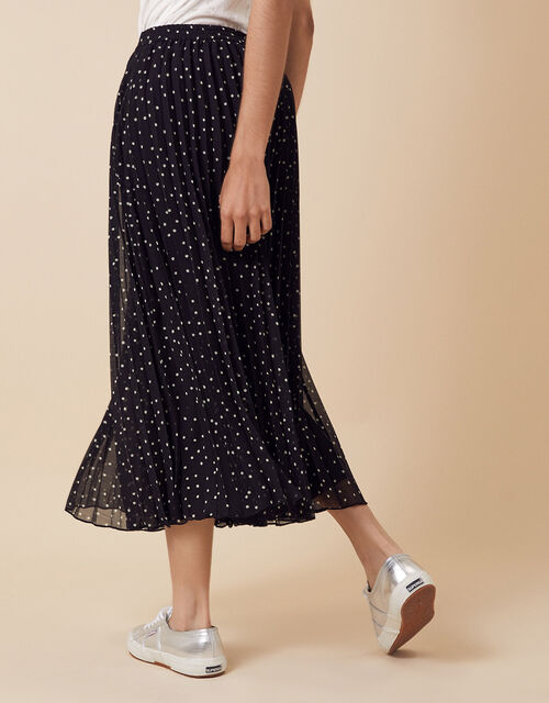 Spot Print Pleated Culottes in Recycled Fabric, Black (BLACK), large