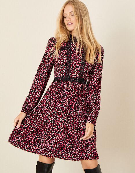 Spot Print Lace Trim Dress Pink, Pink (PINK), large