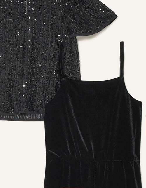 Sequin Top and Jumpsuit Set, Black (BLACK), large