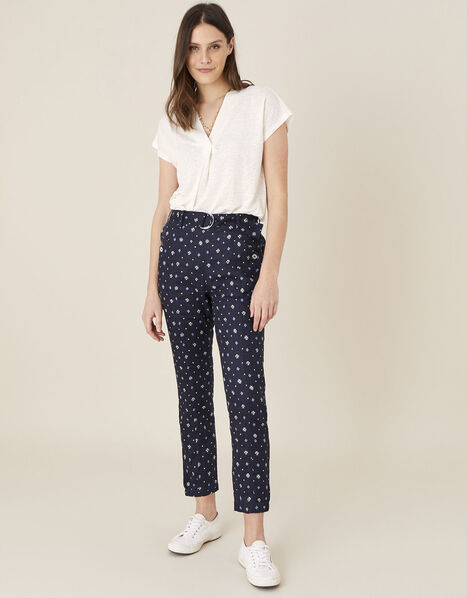Dolly Printed Trousers in Pure Linen Blue, Blue (NAVY), large