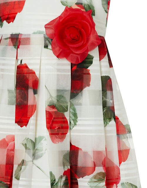 Valentine Striped Rose Dress, Ivory (IVORY), large