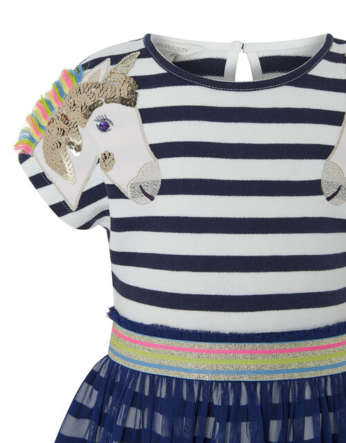 Unicorn 2-in-1 Dress in Organic Cotton and Recycled Fabric, Blue (BLUE), large