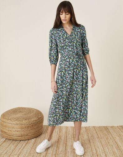 Ditsy Floral Print Collar Dress Blue, Blue (NAVY), large