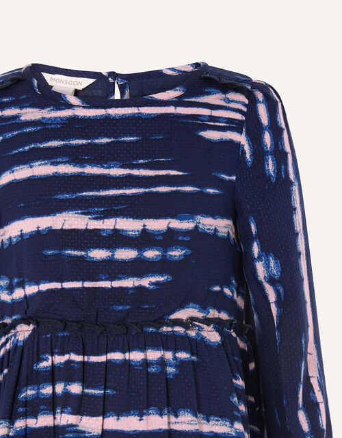 Tie Dye Woven Swing Dress, Blue (NAVY), large