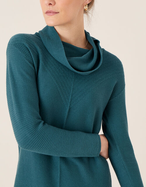 Cali Cowl Neck Knit Dress, Teal (TEAL), large