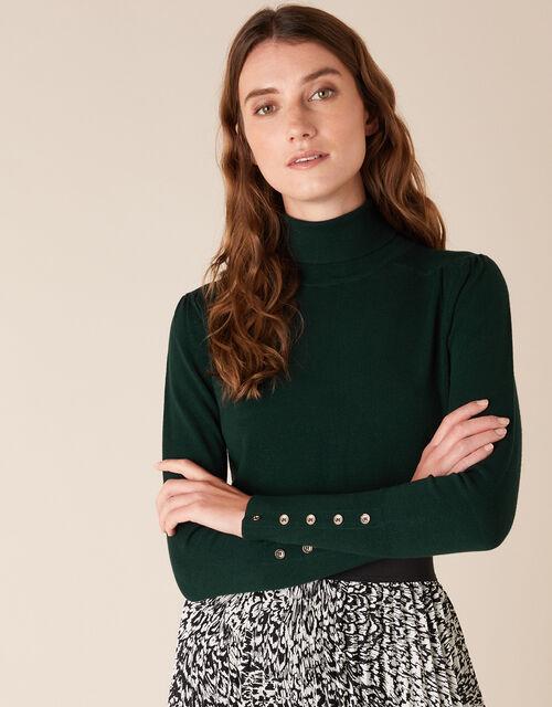 Roll Neck Button Cuffs Knit Jumper, Green (DARK GREEN), large