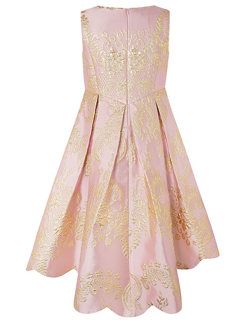 Rebecca Pink And White Jacquard High-Low Dress, Pink (PINK), large