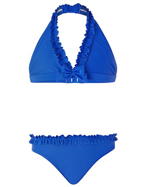 Rachel Ruffle Bow Bikini Set, Blue (BLUE), large