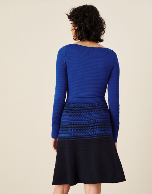 Textured Fit and Flare Dress , Blue (BLUE), large