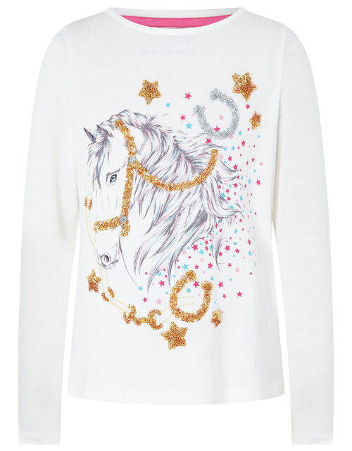 Sequin Horse Top with LENZING™ ECOVERO™, Ivory (IVORY), large