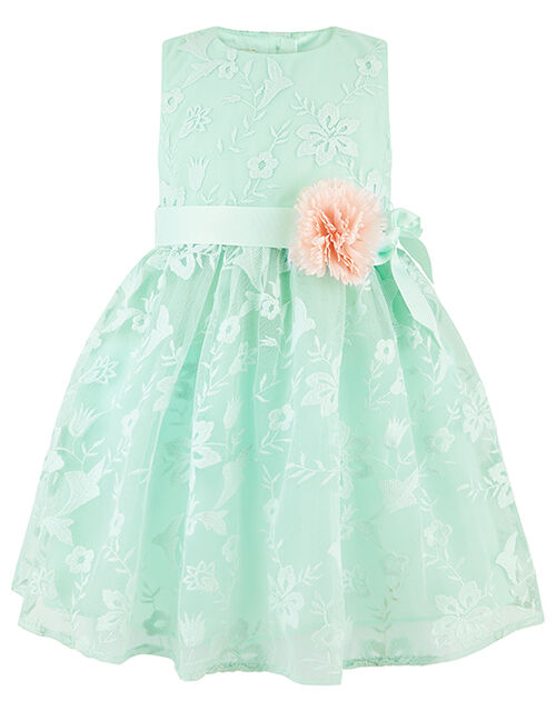Baby Sylvie Floral Embroidered Occasion Dress, Green (MINT), large
