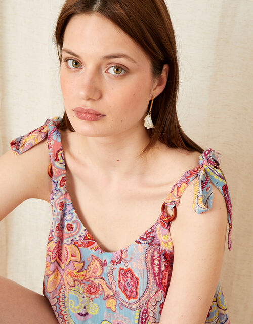 Paisley Print Cami in LENZING™ ECOVERO™, Blue (BLUE), large