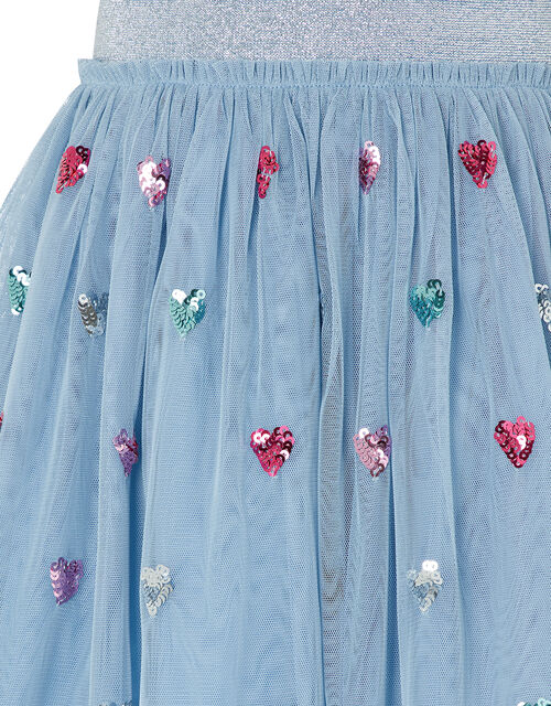 Disco Sequin Heart Skirt, Blue (BLUE), large