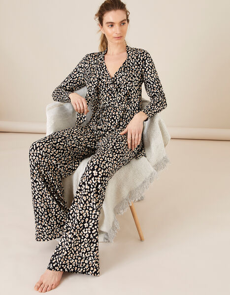 Amelia Animal Print Jersey Jumpsuit Black, Black (BLACK), large