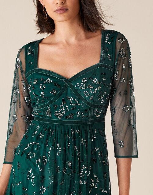 Rafaella Embellished Corset Dress, Green (GREEN), large