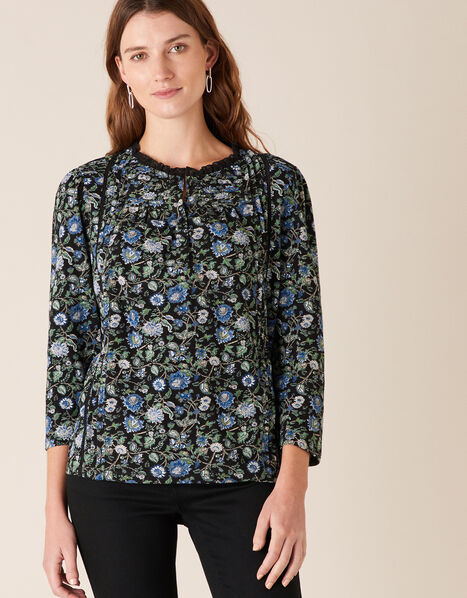 Floral Print Top with Organic Cotton Black, Black (BLACK), large