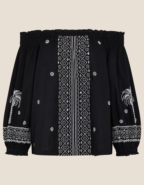 Palm Embroidered Off-Shoulder Top, Black (BLACK), large