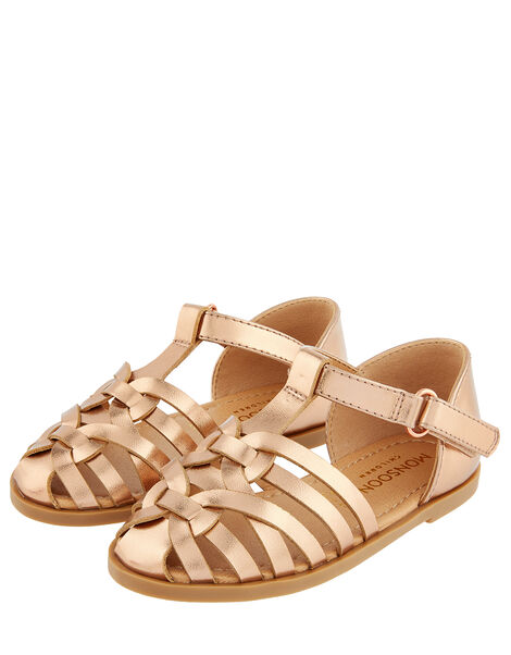 Baby Rose Gold Caged Sandals Gold, Gold (ROSE GOLD), large