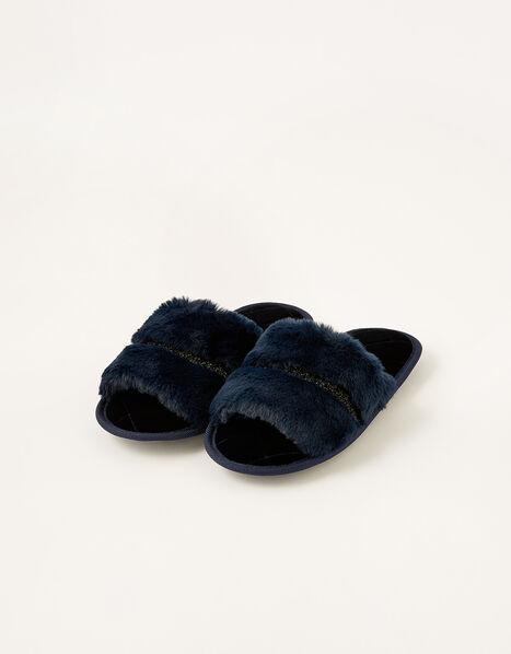 Glitter Trim Faux Fur Slippers Blue, Blue (NAVY), large